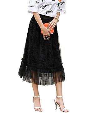 Falda Larga de Faldas De Cintura Alta Dobladillo Grande Maxi de la Mujer Falda de Tul Largo