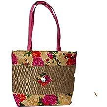 Women's Jute & Cotton Handbag with Flower Canvas Design - Pink Colour