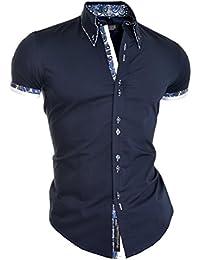 Mens Smart Shirt Short Sleeve White Navy Blue Paisley Cotton Slim Fit EU SIZE