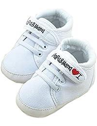 zapatos de bebe - TOOGOO(R) zapatos ocasionales infantiles de suela suave de calzado deportivo de patron de I Love Papa Mama de bebe recien nacido 0~6 meses 11cm blanco