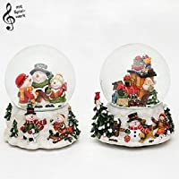 Bellissimo set di 2 palle di vetro con neve e scatola musicale, circa 14,5 x 13,5 cm / Ø 10 cm