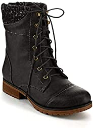 Refresh Ladies Wynne-06 Sweater Cuff Lace Up Combat Boot