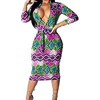 Oyeden Vestido, Moda Mujer Faja De ImpresióN De Color De Cuello Redondo Empalme Vestido De Cremallera