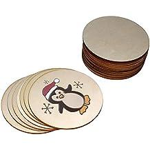 Discos de Madera Sin Acabado (25 Piezas) - Rebanadas 10cm de Diámetro, 2mm