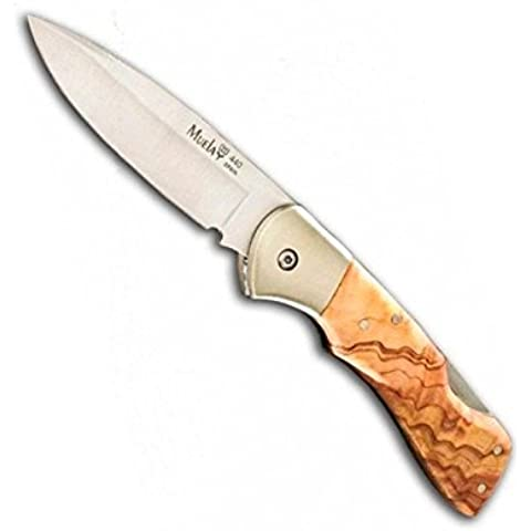 Coltello Muela Serie BX ulivo, bx-8.OL, cachas in legno di ulivo e alpaca, Lama da 8,5cm, peso 120g + Scheda multiuso di regalo