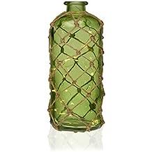 Versa 21210122 Botella Led Verde, 25,5x12x12cm, Cristal