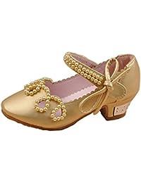 YOGLY Zapatos para Niñas Princesa Sandalias de Niña con Perla Zapatos Niñas Tacones