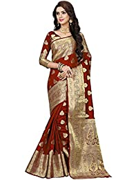 Ramapir Fashion Women's Jacquared Work Banarasi Silk Saree With Unstitched Blouse Piece