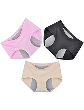 POKWAI 3 Pack De Bragas Cortas De Las Mujeres Seda De Hielo Modal Ninguna Huella De La Fisiológica Señora Pantalones...