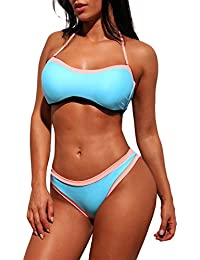 Boldgal Women's Swimwear Bandeau Padded Bikini (Blue)