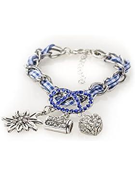 Bettelarmband Wiesn-Brezel - Trachtenarmband mit Brezel, Bierkrug, Herz und Strasssteinen - Armband für Dirndl...
