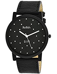 RELISH RE-S8011BB SLIM Black Dial Analog Watch For Mens & Boys
