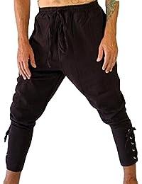 huateng Pantalones Casuales para Hombres Pantalones atléticos Pantalones  Pantalones Medievales y Vikingos con Pantalones de Encaje 2e09c0801ec99