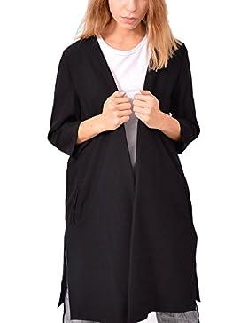 Blazer Nero Lungo Aperto Abbigliamento Sera Moda Donna