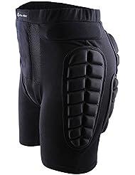 Pantalones cortos con protección acolchada 3D en cadera y trasero para snowboard, esquí, skate, patinaje, hockey y demás deportes de impacto, de West Biking, mujer hombre Infantil, negro