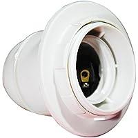 Electraline 71132 - Portalámparas roscado (rosca E27, incluye arandela), color blanco