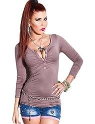 Damen Langarm Sweatshirt mit V Ausschnitt in Einheitsgröße (34bis38)