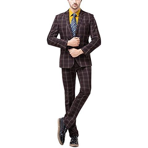Tsui-Fashion Men's Plaid Vest Business One Button Suits
