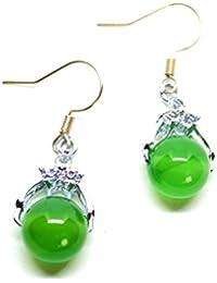 ef0bbe03f9f1 Pendientes de plata con cuenta de jade para mujer
