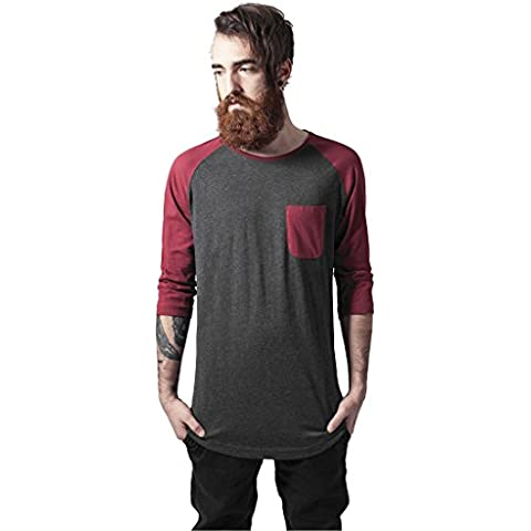 Long Raglan 3/4 Sleeve Pocket Tee cha/burgundy