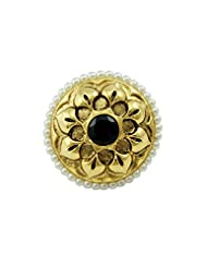 Floral Rajwadi Finger Ring In Black Color