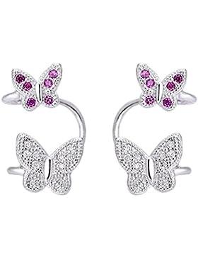 SELOVO Zirkonia Rosa Schmetterling 925 Sterling Silber Ohrringe Ohne Ohrloch Knorpel HelixOhrclip