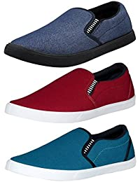 Chevit Men's Canvas Combo Of 3 Loafers