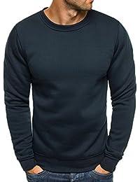 OZONEE Herren Sport Fitness Training Crewneck Täglichen Modern Sweatshirt  Langarmshirt Pullover Warm Basic J. Style 1655a6e67d