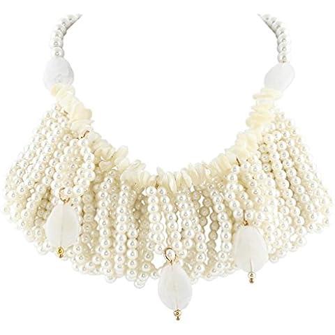 EVER FAITH®collana di dichiarazione cluster colore avorio perla Bib - Perla Pendente Cluster