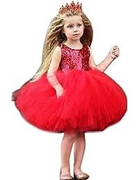 UOMOGO® Vestito da Ragazza Festa in Pizzo per Bambini Abiti da Sposa 0-4 06c4a03f53a