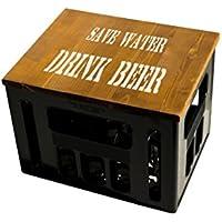 ultiMade Bierkastensitz Geschenkidee Männer Hipster Festival Sitzauflage Bierkiste Hocker aus Holz mit Motiv/Sprüchen - SAVE WATER DRINK BEER