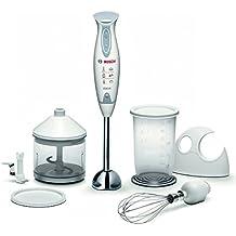 Bosch Mixxo MSM6700 - Batidora de mano, 600 W, regulador electrónico de velocidad, cúpula con cuatro cuchillas, con soporte de pared, picador, cuchilla para hielo y varilla batidora, color blanco y gris