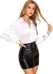 SheIn Women's Long Sleeve Collar Solid Button Front Fall Blouse S