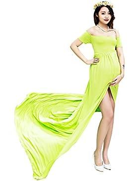 Hopeverl Vestido de algodón de maternidad Split Front Fotografía Fotografía Maxi Vestido de foto embarazada