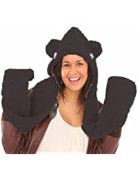 Womens Soft Fleece Hooded Scarf With Ears Design Warm Winter Thermal Fashion Hat