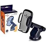 Bulfyss Universal Telescopic Car Mount Mobile Phone Holder Stand for Dashboard Windshield - All Smartphones [360 Degree Rotating] [Elongated Neck] [Strong Suction] - Black