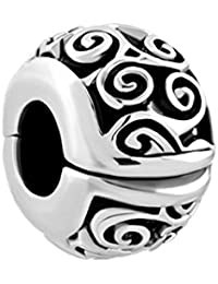 0f8dcf029 Pugster Irish Celtic Swirl Flower Clip Lock Stopper Spacer Charms Sale Bead  fit…