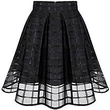 Petticoat Kleid Rock Damen Rockabilly Kleid DAY.LIN Frauen Organza Röcke hohe Taille Reißverschluss Damen Tüll Rock