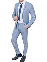 Abito completo uomo sartoriale celeste chiaro slim fit vestito elegante  cerimonia 6f0cecfb356