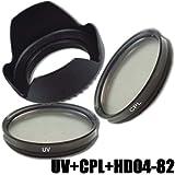 Kit Filtre DynaSun Polarisant Circulaire CPL 82mm C-PL + UV Ultra Violet Objectif 82 mm + Pare-Solei