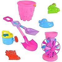 Preisvergleich für Hukangyu1231 Babyspielzeuge, pädagogische Spielwaren der Kinder Große mit Sanduhr Strand Eimer ATV 8 Stück Set Spielzeug für Kleinkind Jungen Mädchen Alter 3 +