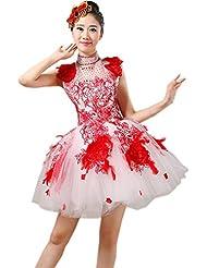 Wgwioo Mujeres Abertura Baile Vestidos Cortos Adultos Boda Princesa Falda Grande Bordado de impresión Moderno nación