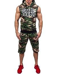 BOLF – Sweatshirt sans manche – Capuche – Pantalons courts de sport – Militaire – Survêtement Homme 8H8
