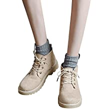 Botas Cortas Mujeres, Zapatos de Mujer Moda Tobillo Plano Oxford Casual Flock Shoes