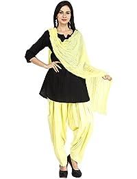 Funfabrics Women Cotton Solid Full Free Size Yellow Plain Patiala Salwar Dupatta Set Cotton Patiala Dupatta