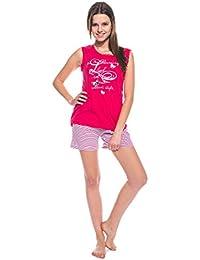 Moonline trendiger Damen-Shorty Schlafanzug Hausanzug mit feinen Spitzen und Motiv-Druck, 100% Baumwolle