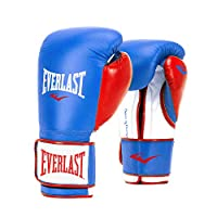 Everlast PowerLock Pro Style Elite Training Gloves Blue/Red, 16 oz ( Color May vary)