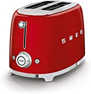 Smeg TSF01RDUK Retro 2 Slice Toaster, 6 Browning Levels, Extra-Wide Bread Slots, Defrost and Reheat Functions,
