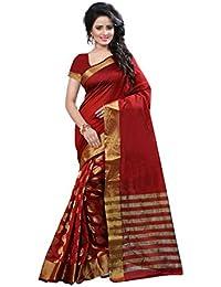 Kanchan Women Wedding Cotton Silk Printed Saree For Ladies & Girls (Red Trendz)