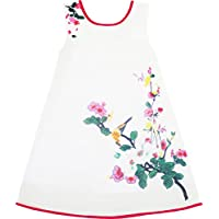 Sunny Fashion - Vestito floreale, bambina, bianco